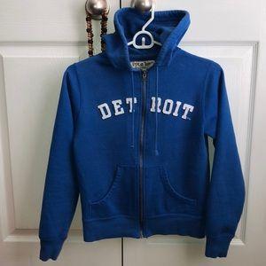 Vintage DETROIT Blue and White Zip-Up Hoodie